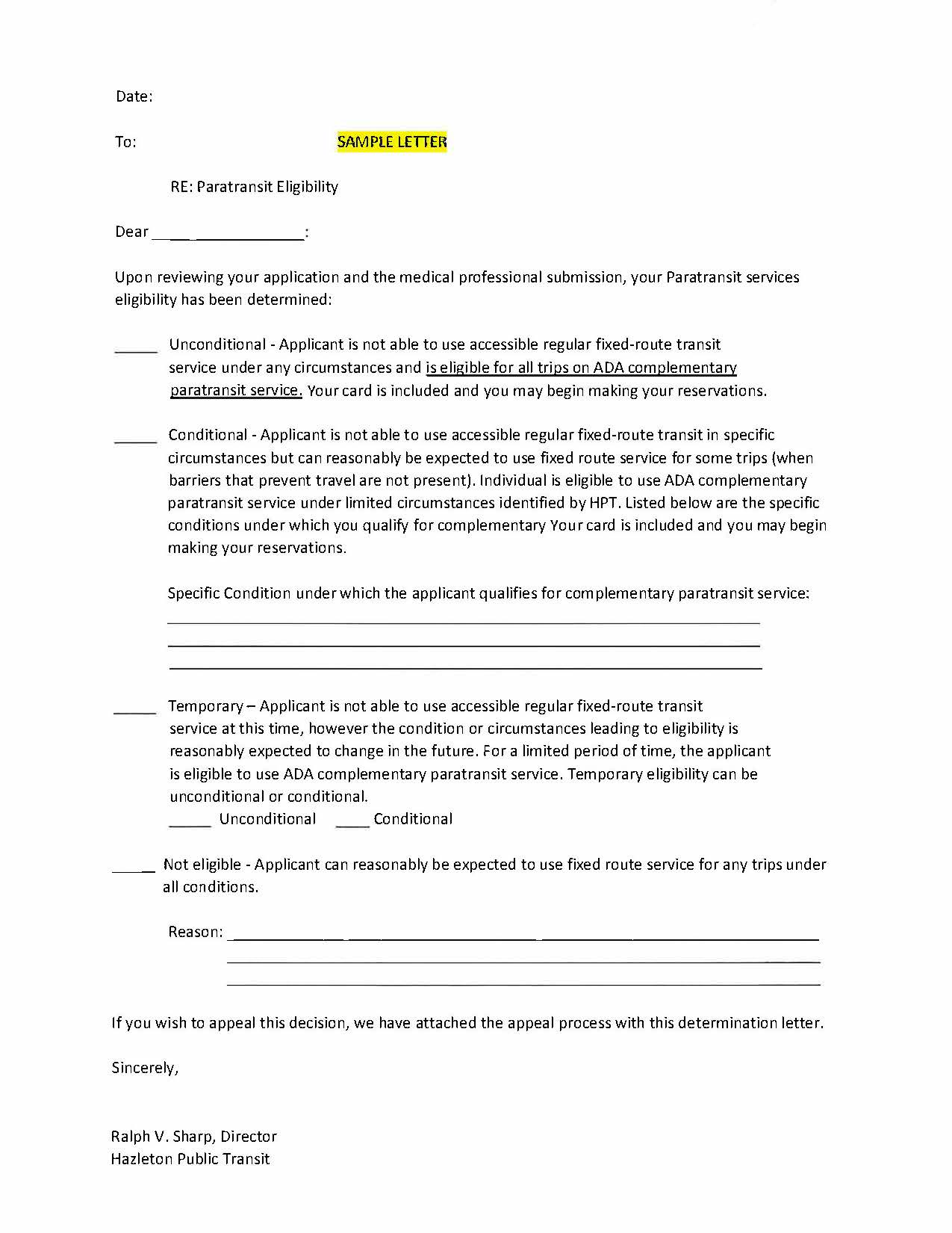 Paratransit Service Sample Letter